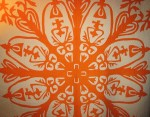 Orange applique hawaiian quilt